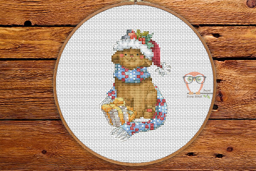 Cat with Christmas gift - Winter Sampler