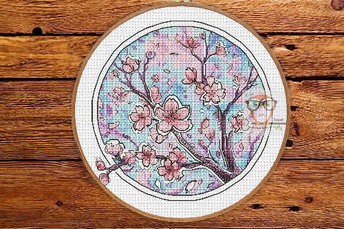 Sakura - Round Botanica cross stitch pattern