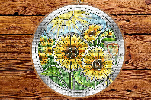 Sunflower - Round Botanica cross stitch pattern