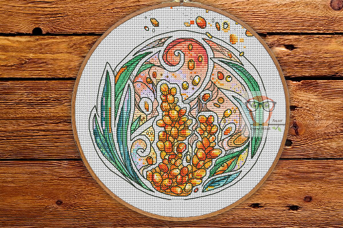 Sea Buckthorn - Round Botanica cross stitch pattern