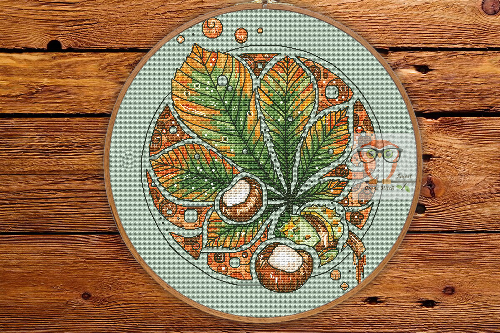 Chestnut - Round Botanica cross stitch pattern