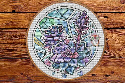 Succulents - Round Botanica cross stitch pattern