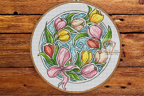 Tulips - Round Botanica cross stitch pattern