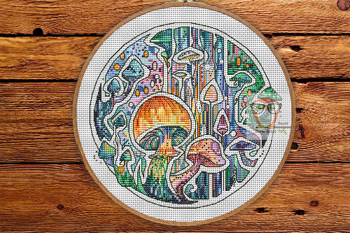 Mushrooms - Round Botanica cross stitch pattern