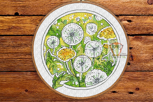Dandelions - Round Botanica cross stitch pattern