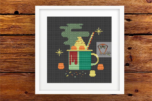 Marshmallow cocoa cross stitch pattern
