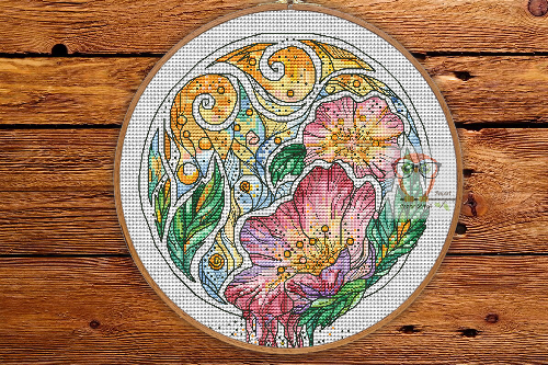 Dogrose - Round Botanica cross stitch pattern
