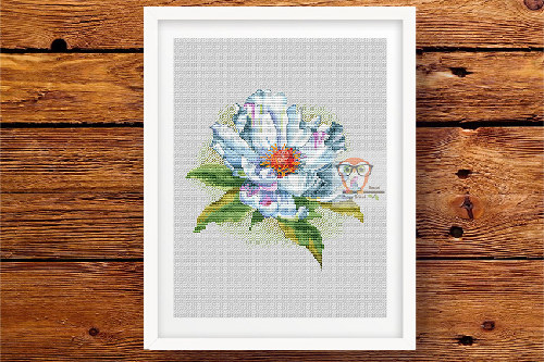 Peon cross stitch flower pattern