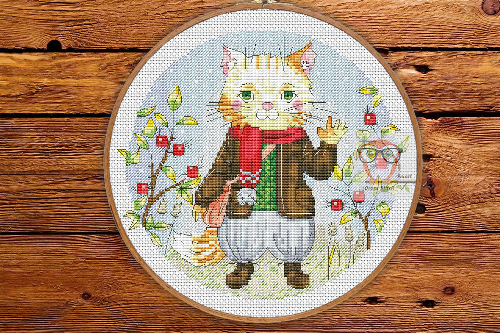 Funny Cat Round Cross Stitch