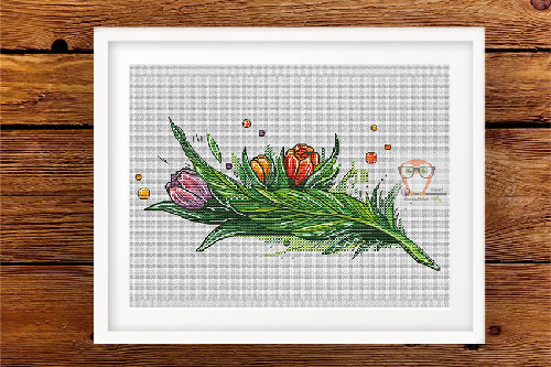 Feather April Cross Stitch pattern