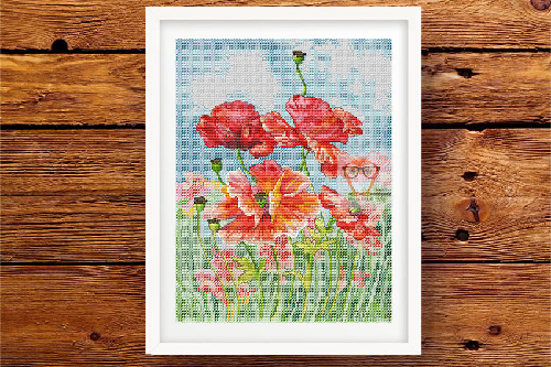 Poppy Field cross stitch pattern