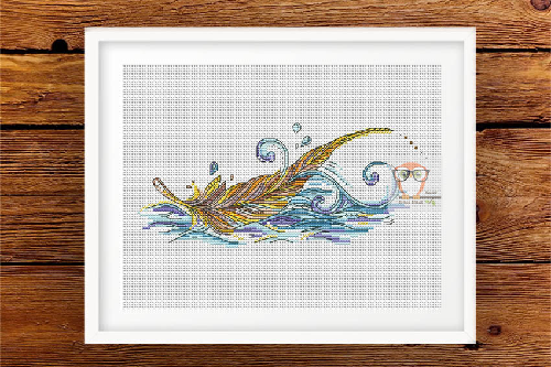 Feather July Cross Stitch Pattern