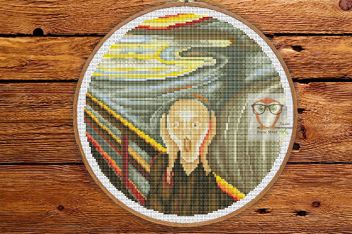 The Scream cross stitch pattern by Munch