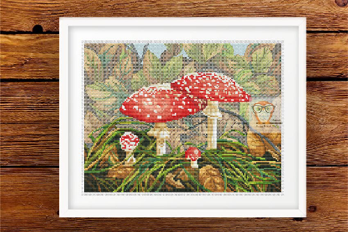 Fly agaric cross stitch pattern