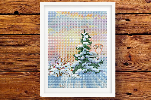Winter Fir Tree cross stitch pattern