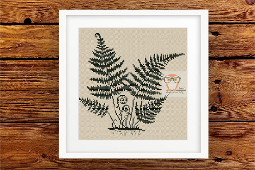 Fern Cross Stitch Blackwork Pattern