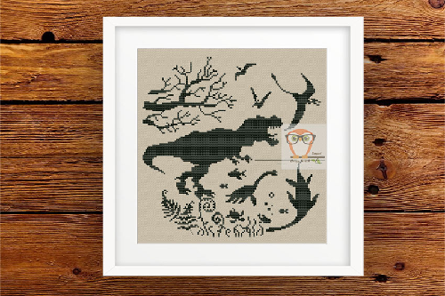 Dinosaur #2 Cross Stitch Blackwork Pattern