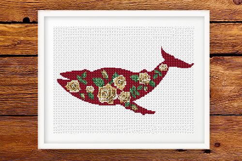 Red Flower Whale cross stitch pattern